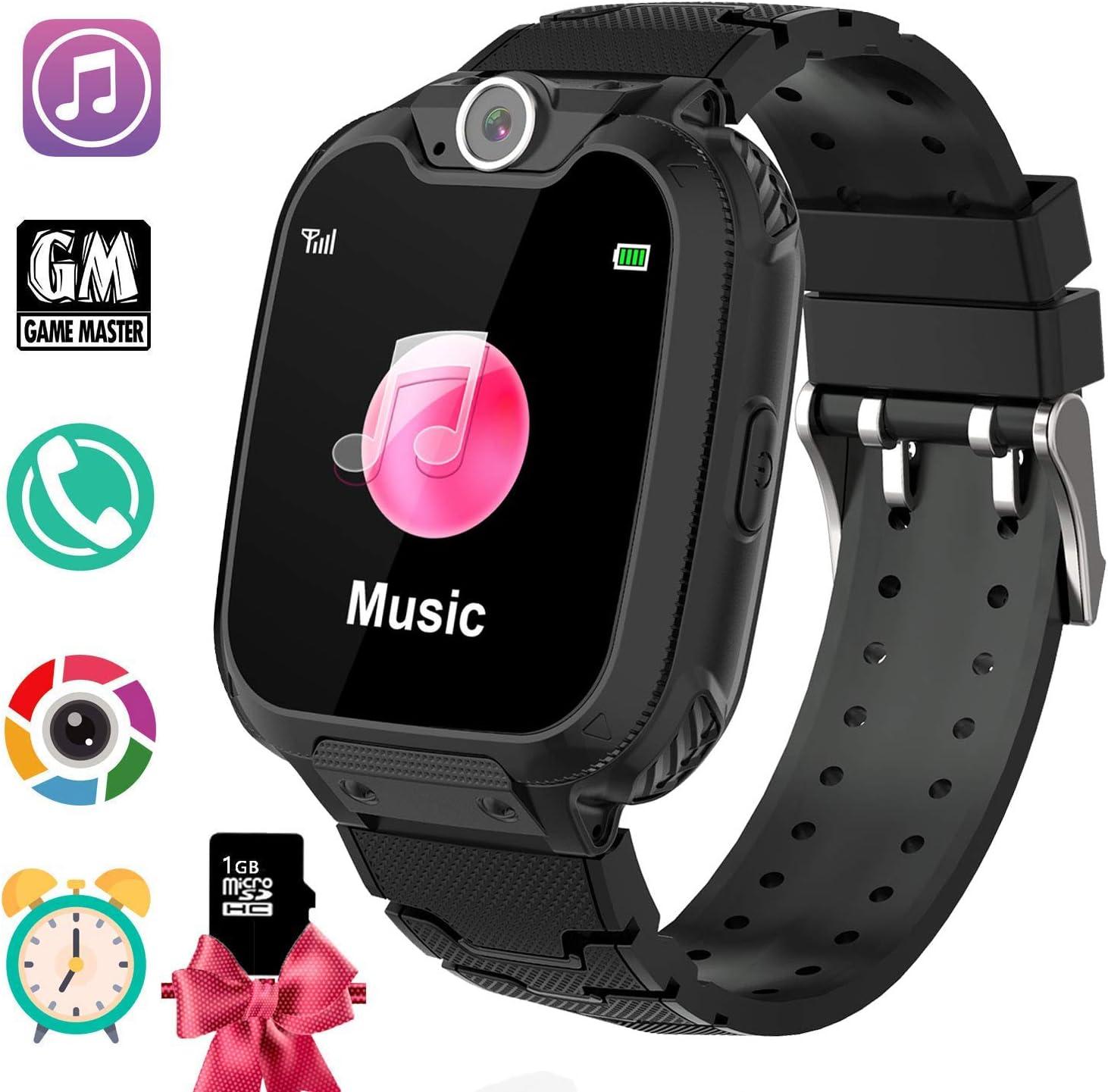 PTHTECHUS Reloj Inteligente para Juegos Infantiles con MP3 Player - [1GB Micro SD Incluido] Llamada de Pantalla táctil de 2 vías Juego de Alarma cámara Reloj Regalo de Juguete de cumpleaños (Negro)