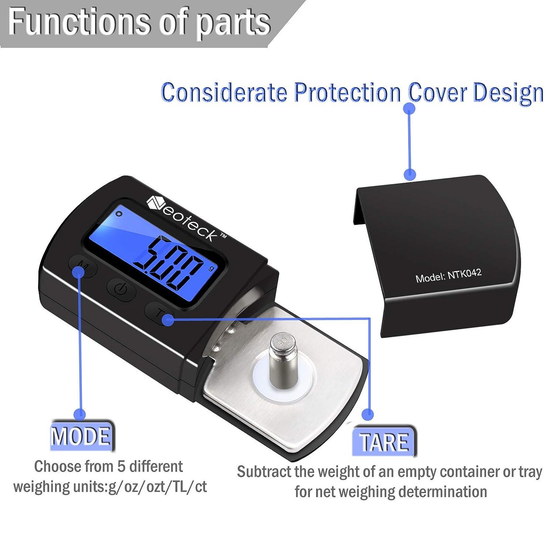 Neoteck - Balanza de precisión con pantalla digital con ...