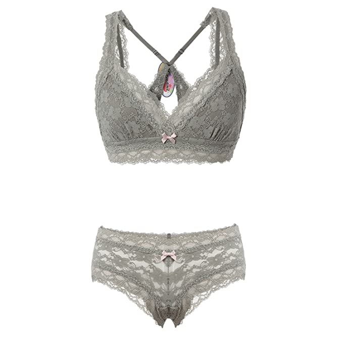 Sujetadores de Encaje y Bragas Set Underwear Conjuntos de Lencería (90B/34B, Faded