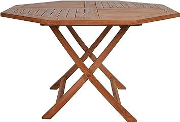 MIA Meuble teck octogonale Table pliante: Amazon.fr: Jardin