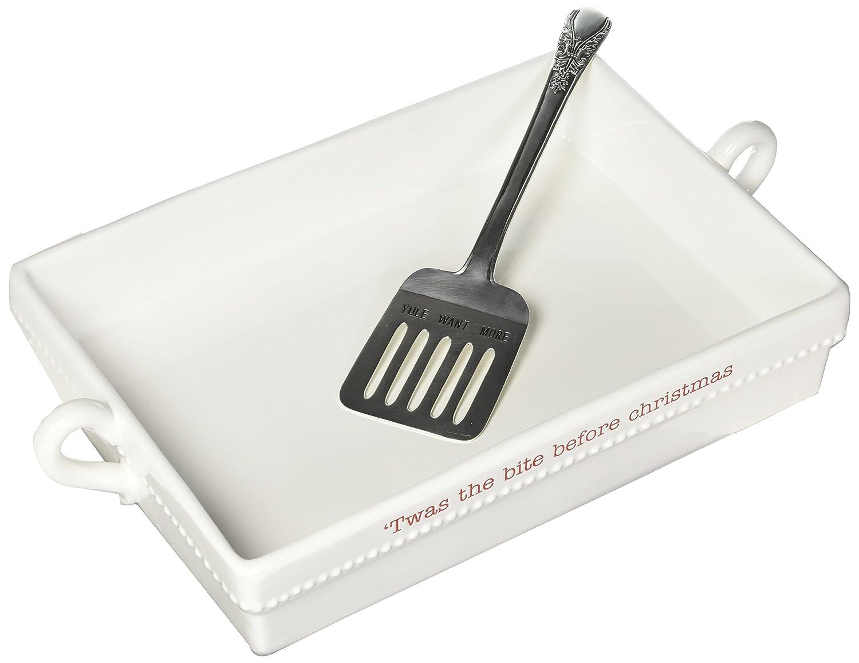 Mud Pie 4801018 Ceramic Casserole Baker Set, White