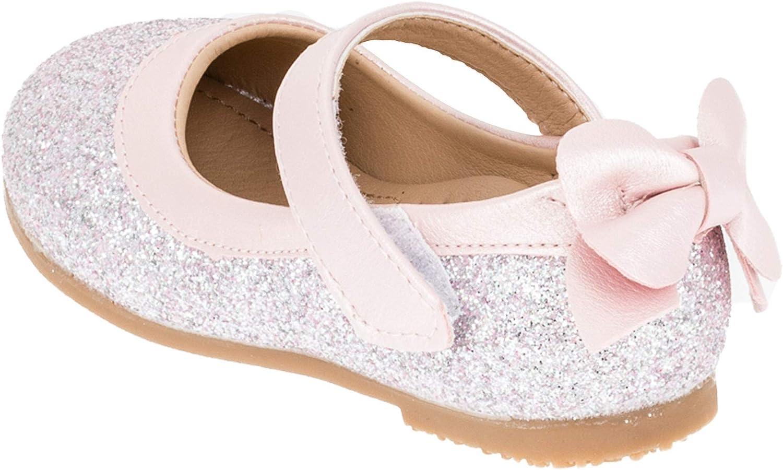 Fashionteam24 Festliche M/ädchen Schuhe Ballerinas mit Klettverschluss in Glitzeroptik