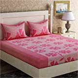Inovamall|144TC Cotton Bedsheet with 2 Pillow Cover and witth Attractive Pink Flower Design in Light Pink Color for Double Bed| Color not Fade Guarantee|Sz: 90x90inch(228x228cm)|Wt:650gm