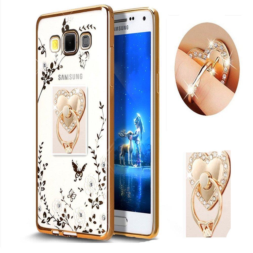 Inspirationcソフトスリムきらきらメッキゴムカバー サムスンギャラクシーS7エッジ用 ラインストーンダイヤモンドと着脱可能360リングスタンド付き Samsung Galaxy S7 edge B06WP681TV Samsung Galaxy S7 edge Gold and White Gold and White Samsung Galaxy S7 edge