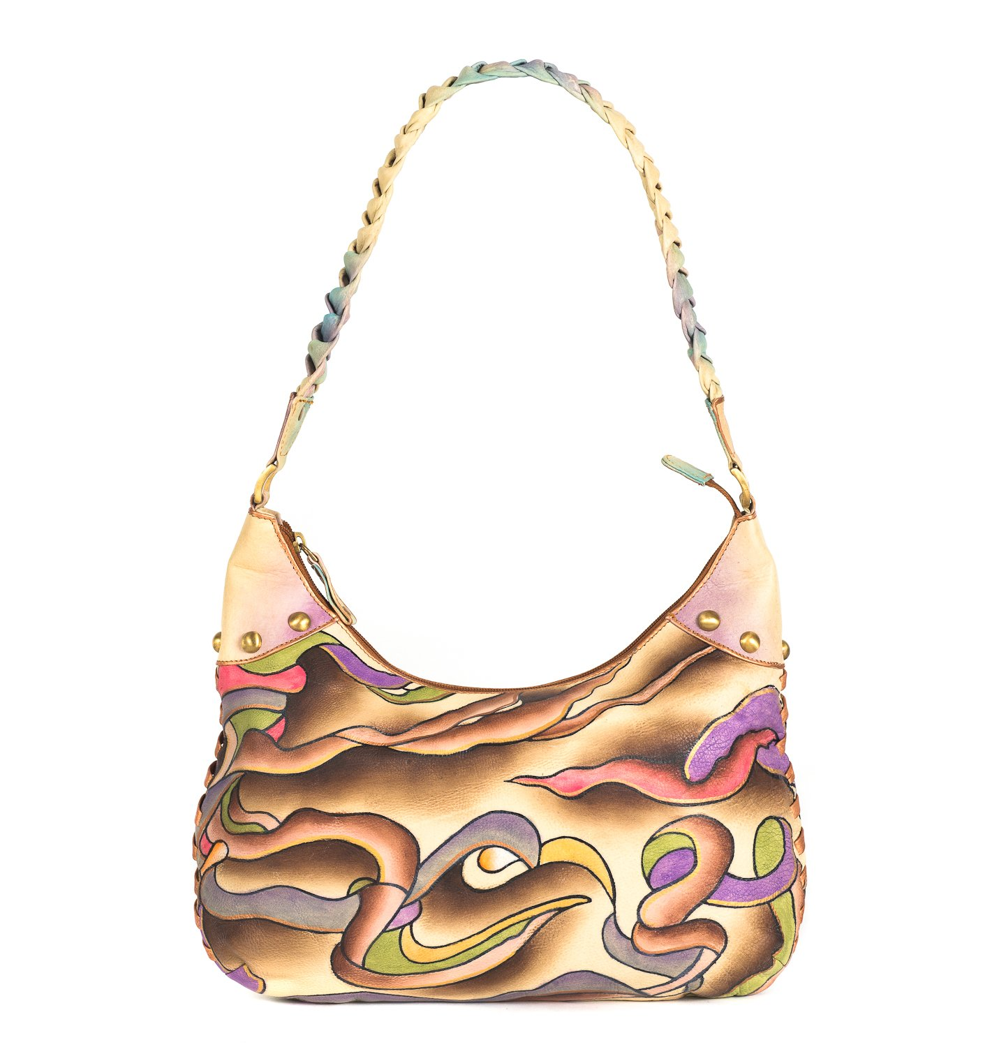 ZIMBELMANN ESTHER Genuine Nappa Leather Hand-painted Hobo Shoulder Bag Purse by Zimbelmann