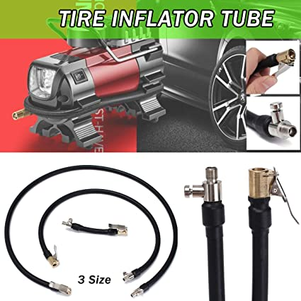 Car Motor Bicycle Bike Flexible Clip On Air Tyre Tire Chuck Tube Inflator Hose