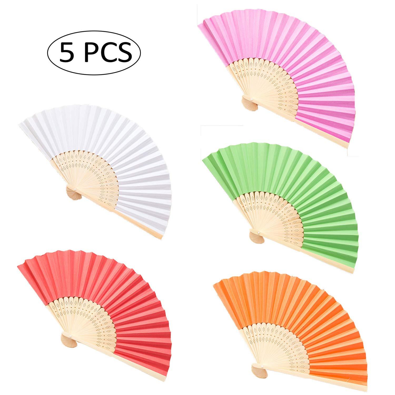 Blanc, Rose Rouge, Vert, Orange, Rouge Lifreer Lot de 5 /éventails Pliables en Soie et Bambou pour Mariage /Église Cadeau de f/ête ou d/écoration DIY
