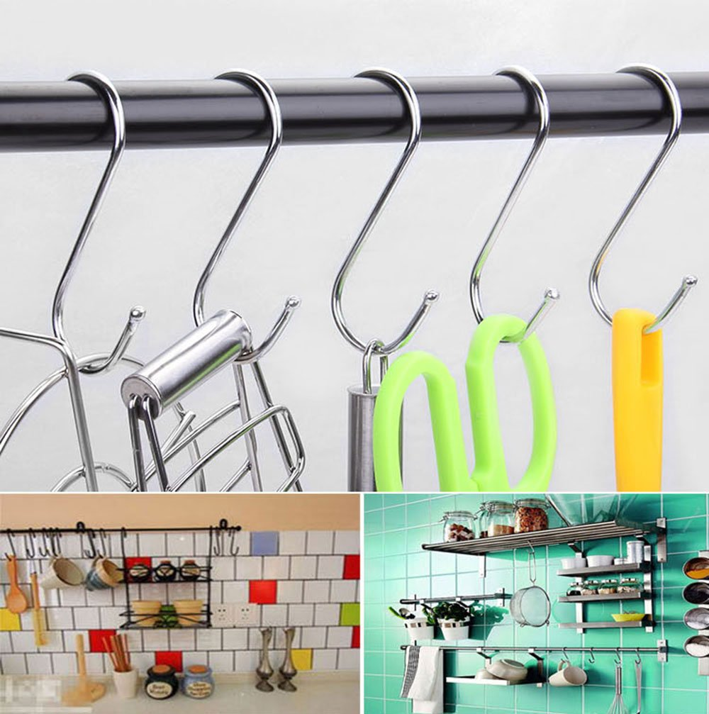 Pro Bamboo Kitchen RuiLing Premium 20-Pack Heavy-Duty Larger Round S Shaped Hooks in Polished Stainless Steel Metal Hanging Hooks,for Kitchen Spoon Pan Pot Hanging Hooks Hangers