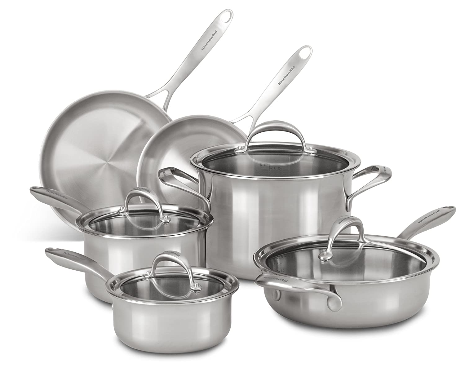 KitchenAid KC2CS10ST 5-ply Copper Core 10-Piece Set Cookware - Stainless Steel
