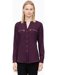 2eb733ca Calvin Klein Women's Modern Essential Zip Front Roll Sleeve Blouse ...