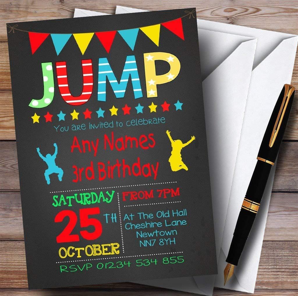 Chalk Boys Jump Trampoline Childrens Birthday Party Invitations ...