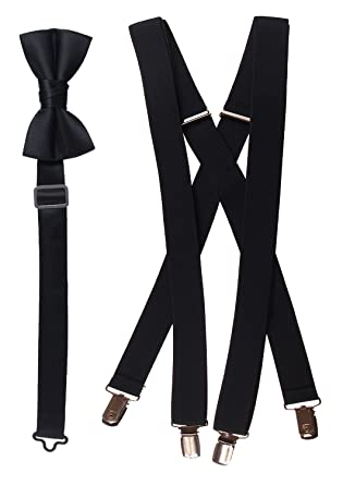 1025100e7734 Amazon.com: Tuxgear Bow Tie and Suspender Set Combo in Multiple Sizes and  Colors: Clothing