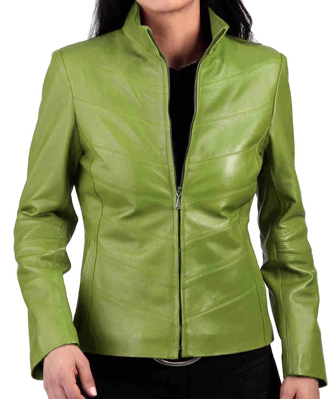 Green Alishbah Women's Leather Jacket Stylish Motorcycle Biker Genuine Lambskin WJ 295