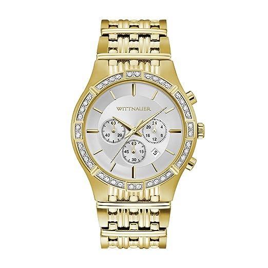 Wittnauer WN3079 - Reloj de Cuarzo para Hombre con cronógrafo Plateado y Esfera Dorada de 46