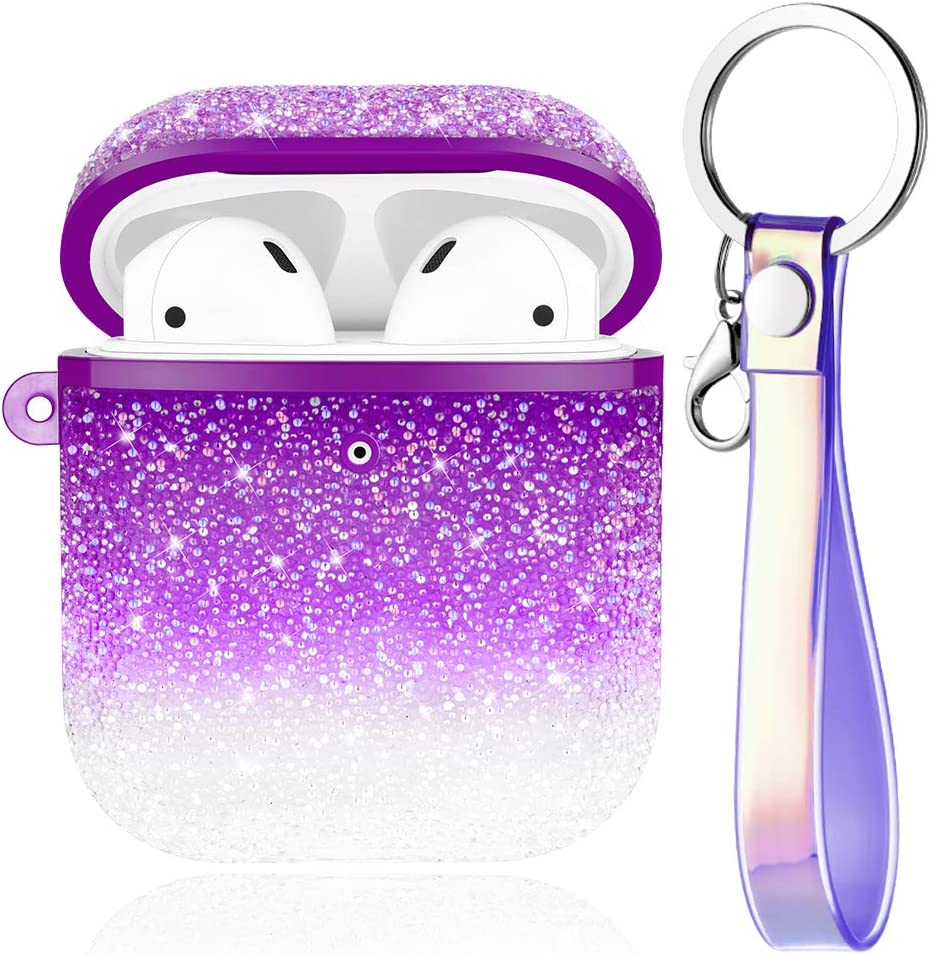 Caka Glitter Case for AirPods Case Cover Crystal Diamond Rhinestone Shiny Bling Sparkle Protective with Lanyard TPU Women Girls Cute Case for AirPods 1 and 2 (Front LED Visible)(Gradient Purple)
