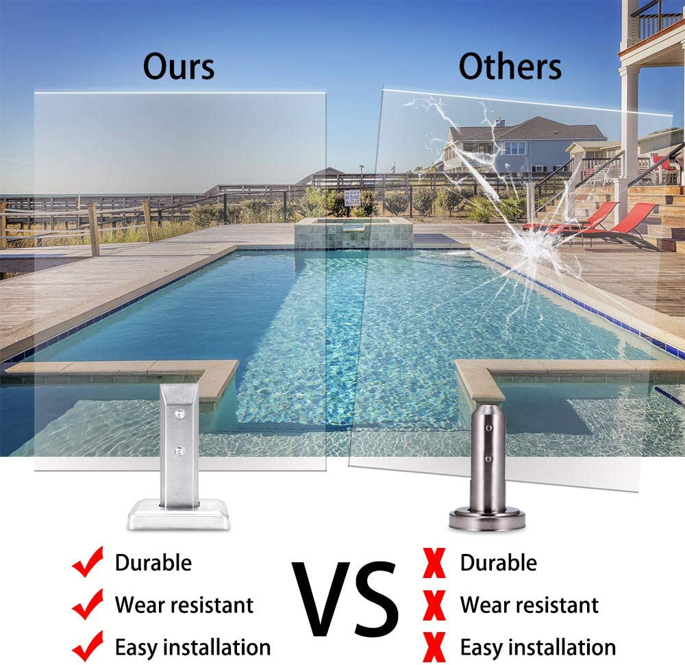 barandillas escaleras JIAOAOO Pinza de cristal de pie de acero inoxidable para piscinas de cristal