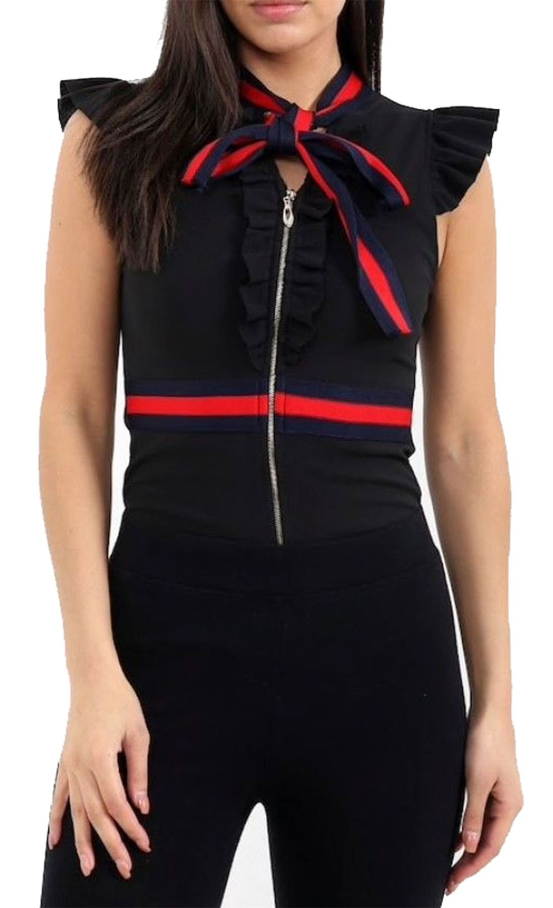 REAL LIFE FASHION LTD Womens Ruffle Frill Stripe Bodysuit Ladies Pussy Bow Detail Stripe Leotard Top#(Black Ruffle Frill Stripe Bodysuit#US 6-8#Womens)