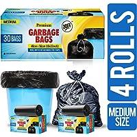 JOFF Premium Garbage Bags - Medium (48cmx56cm, 4 Rolls, 120 Bags, Black)