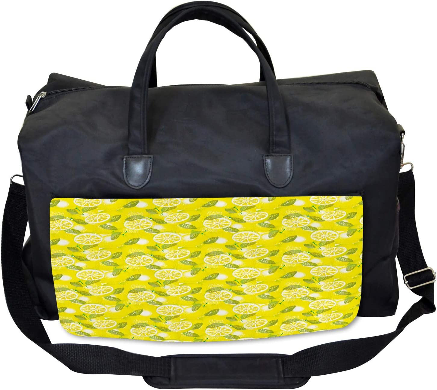 Large Weekender Carry-on Ambesonne Spring Gym Bag Fresh Lemons with Leaves
