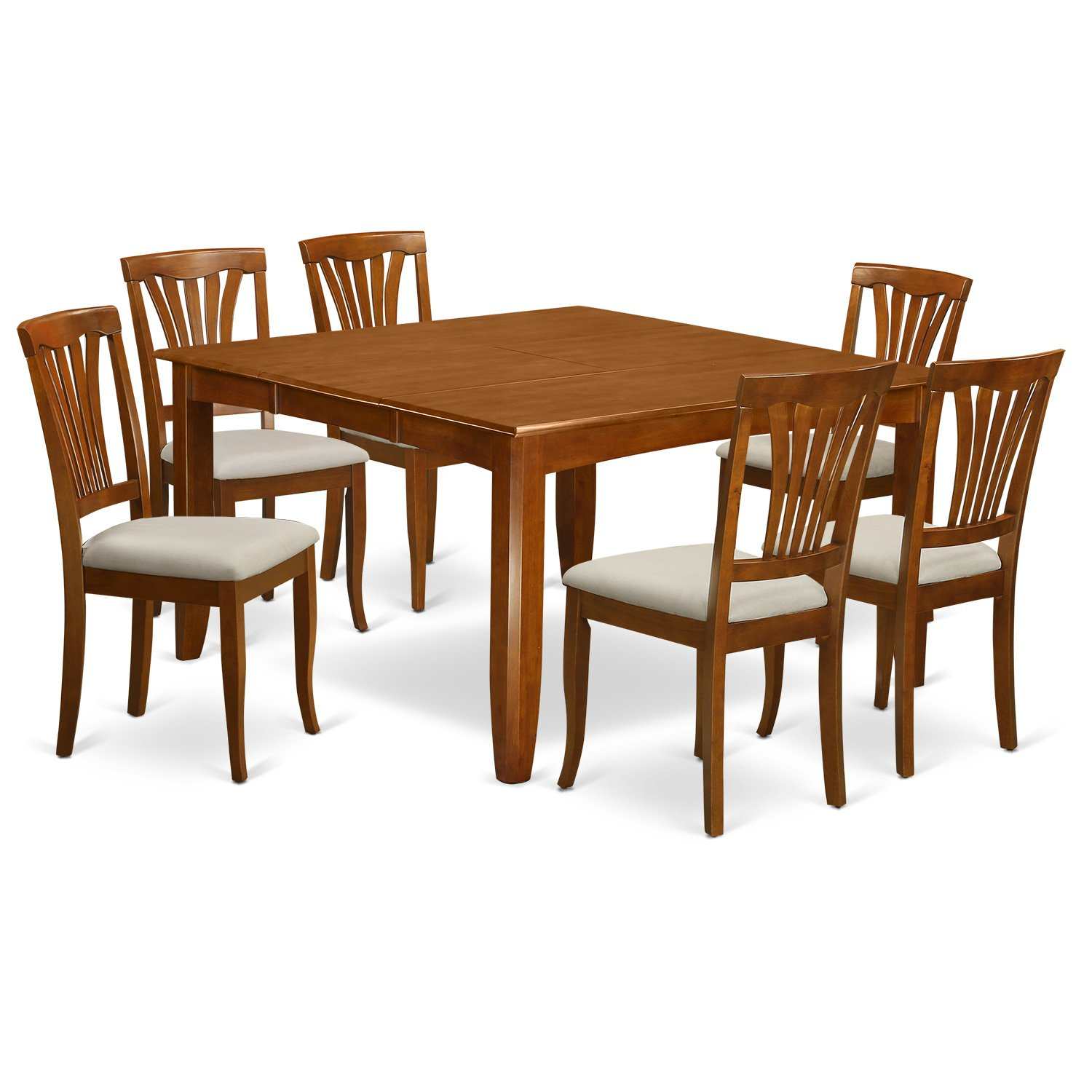East West Furniture PFAV7-SBR-C 7-Piece Dining Table Set