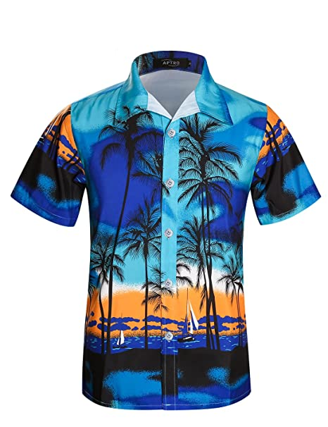 91c9e54f APTRO Men's Palm Tree Hawaiian Shirt Short Sleeve Beach Shirts ST30 Blue  Tag L=US