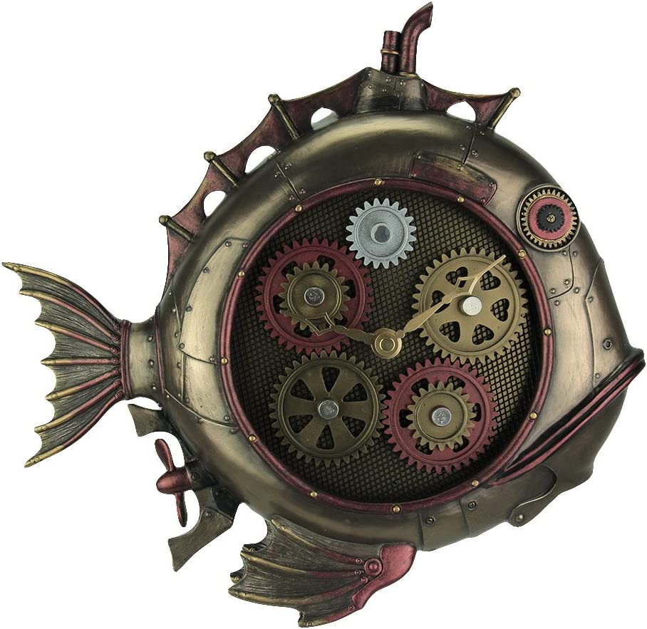 Veronese Design Steampunk Style Fish Submarine Wall Clock