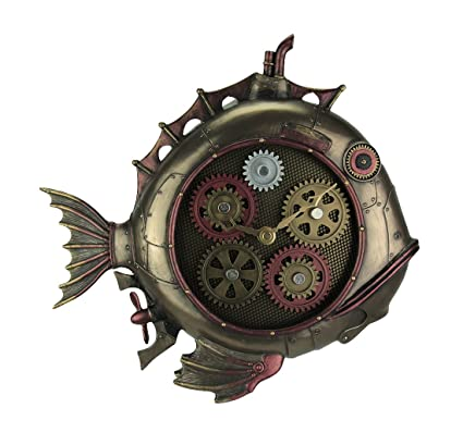 Resin Wall Clocks Steampunk Style Fish Submarine Wall Clock 12.5 X 12 X 2 Inches Bronze