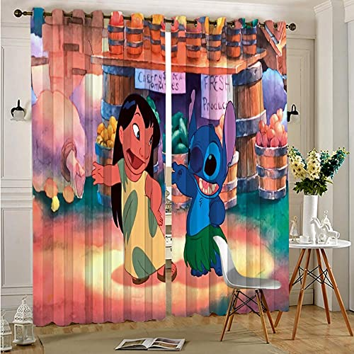 Zmacdk Decor Living Room Curtains 2 Panel Sets Lilo Stitch Print Sliding Curtain