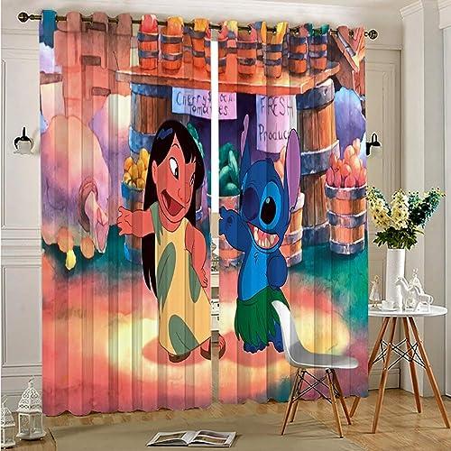 Zmacdk Decor Living Room Curtains 2 Panel Sets Lilo Stitch Print Sliding Curtains