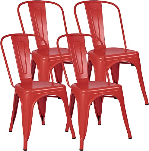Furniwell Metal Dining Chairs Indoor-Outdoor Use Stackable Kitchen Chair Trattoria Side Chic Dining Bistro Cafe Chairs