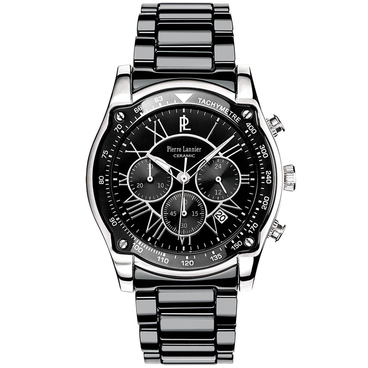 Pierre Lannier - Reloj Analógico de Cuarzo para Hombre, correa de Cerámica color Negro