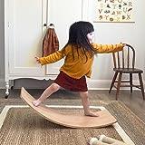 little dove Wooden Balance Board with Playmat Wobble Board & Race Track Mat Preschool Toys Early Learning Kid Yoga Curvy Boar