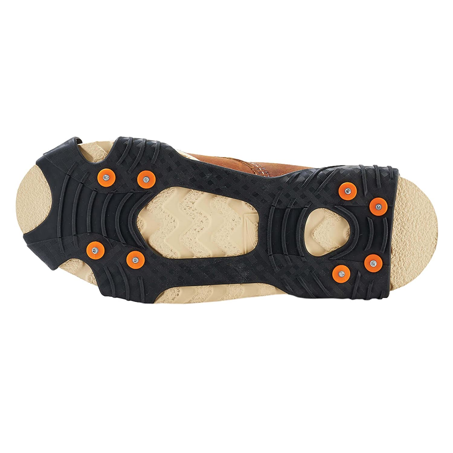 Amazon com TREX 6300 Traction Cleat Grips Ice and Snow One Piece Easily Attaches Over Shoe/Boot with Carbon Steel Spikes to Provide Anti Slip Solution
