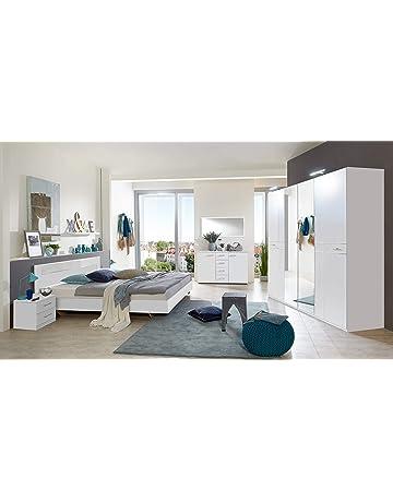 PEGANE Chambre Adulte Complète, Coloris Blanc, Rechampis Verre Blanc +  Chrome   Dim :