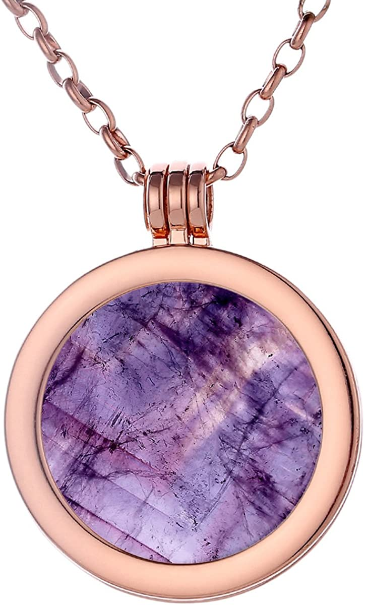 Morella Mujeres Collar 70 cm Acero Inoxidable Oro Rosa y Colgante con Coin Moneda Amuleto de Piedra Preciosa Gema 33 mm Plato de Chakra en Bolsa de joyería