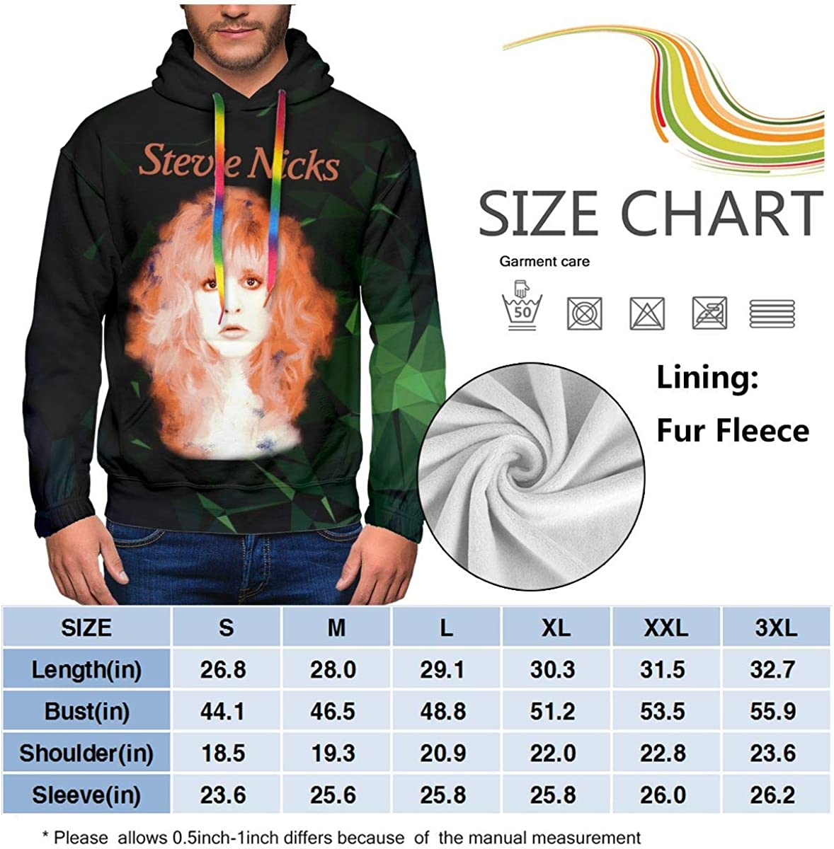 LarryCAdamson Stevie Nicks Mens Fashion Hip Hop Heavyweight Hoodies with Pocket
