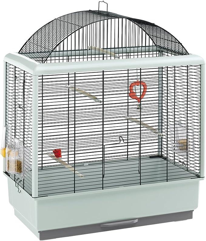 Feplast 52059817 Jaula para Canarios y Otros Pequeños Pájaros Palladio 4, Diseño Elegante con Techo Panorámico, Accesorios Incluidos, 59 x 33 x 69 Cm Negro