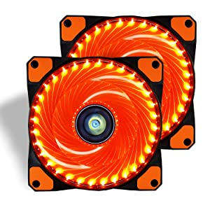 CONISY 120mm PC Case Cooling Fan Super Silent Computer LED High Airflow Cooler Fans - Orange (2 Pack)