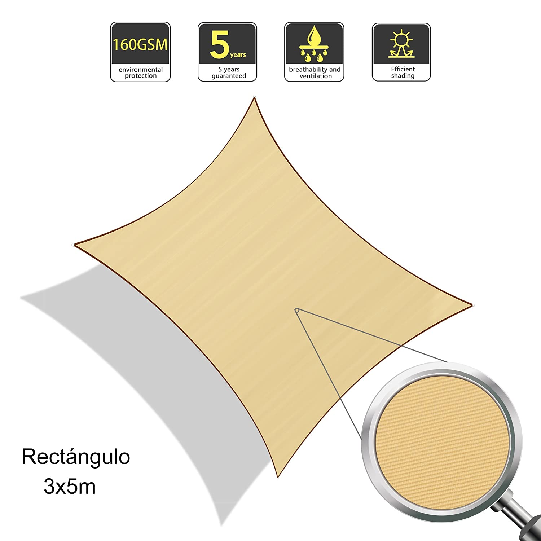 Sunnylaxx Tenda a Vela Rettangolare 2 x 3 Metri per spazi allaperto Color Grigio Impermeabile e Resistente