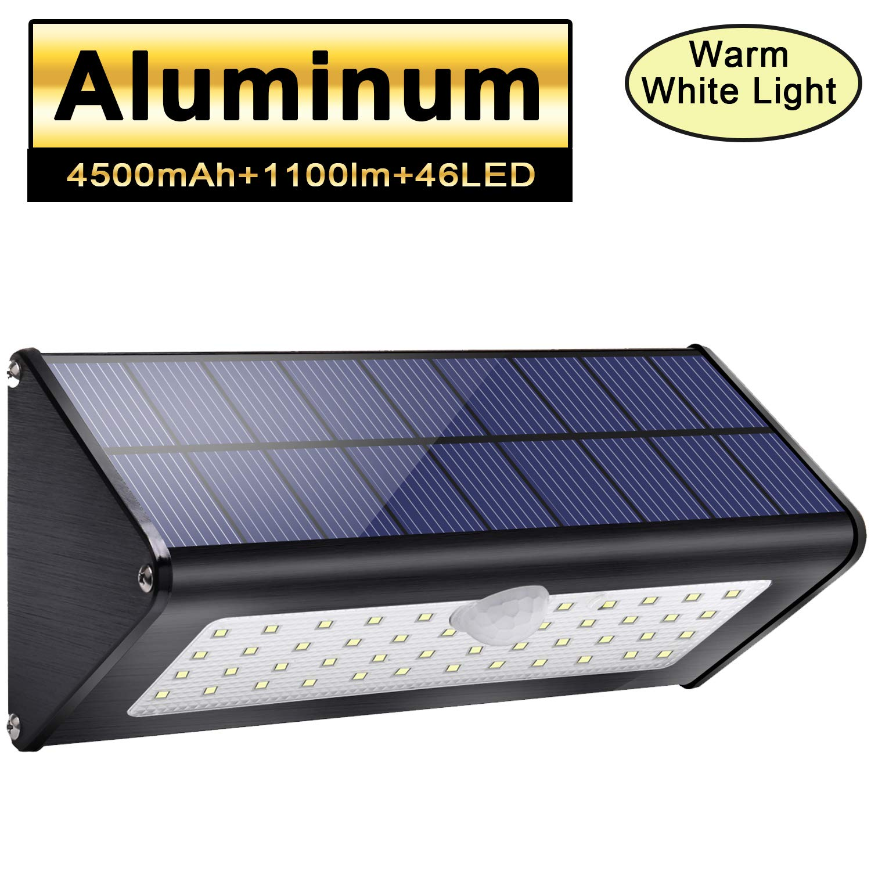 Licwshi 1100lm solare esterno luci 4500mAh in lega di alluminio 120 /° sensore di movimento a infrarossi luce bianca impermeabile IP65 senza fili luce di sicurezza con 4 modalit/à per giardino parete