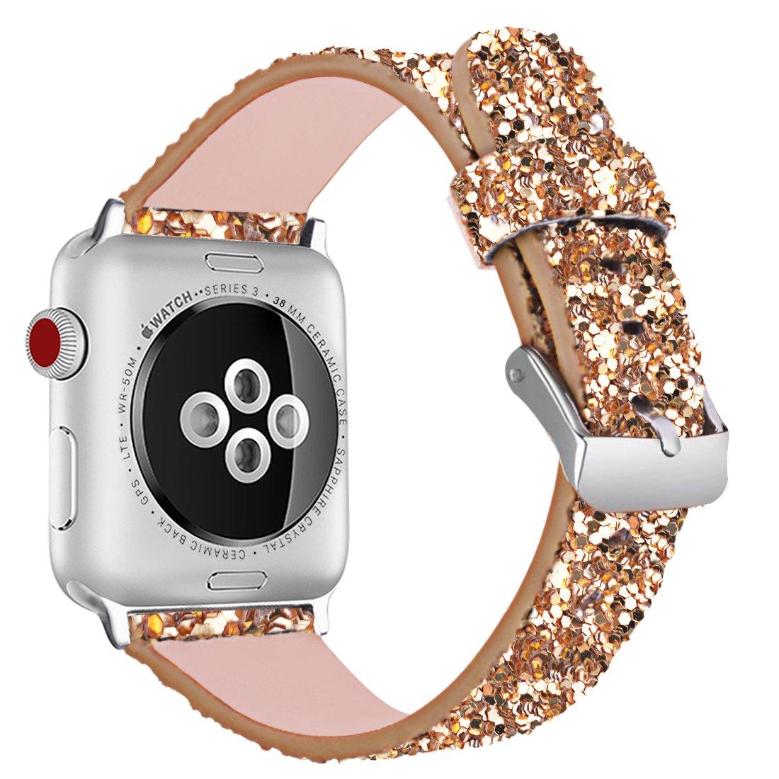 Malla glitter gold para reloj Apple Watch 38mm 40mm 42mm