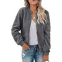 $27 » MIROL Women's Sherpa Fleece Jacket Faux Fuzzy Long Sleeve Casual Zip Up Bomber Coat
