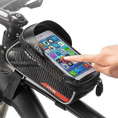 iFCOW - Bolsa para manillar de bicicleta, marco delantero, gran capacidad, bolsa de almacenamiento para bicicleta, con funda impermeable para teléfono con pantalla táctil