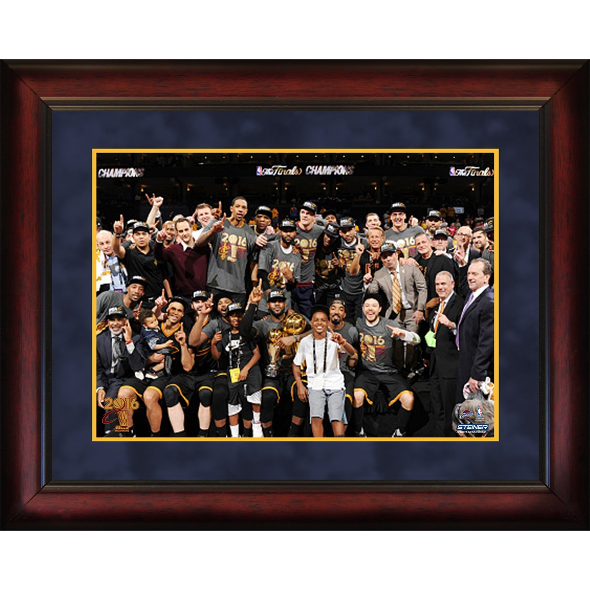 Steiner Sports NBA Cleveland Cavaliers Unisex 2016 NBA Champion Cleveland Cavaliers 16x20 Framed Photo, Navy