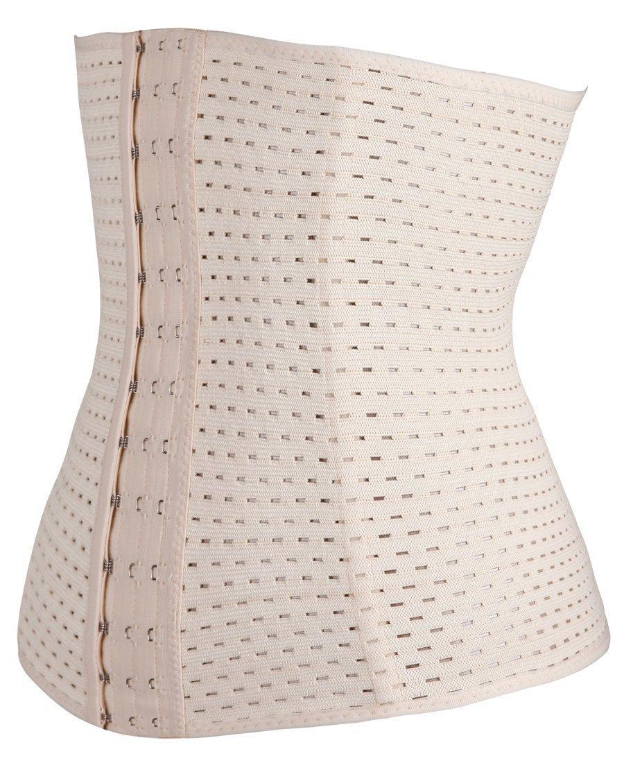 Damen Korsett Corsage Waist-Trainer Cincher mit 4 Stahlstäbchen Dessous Lingerie Unterbrustkorsett Korsage Bauchweggürtel Shapewear (skin, XXXL)