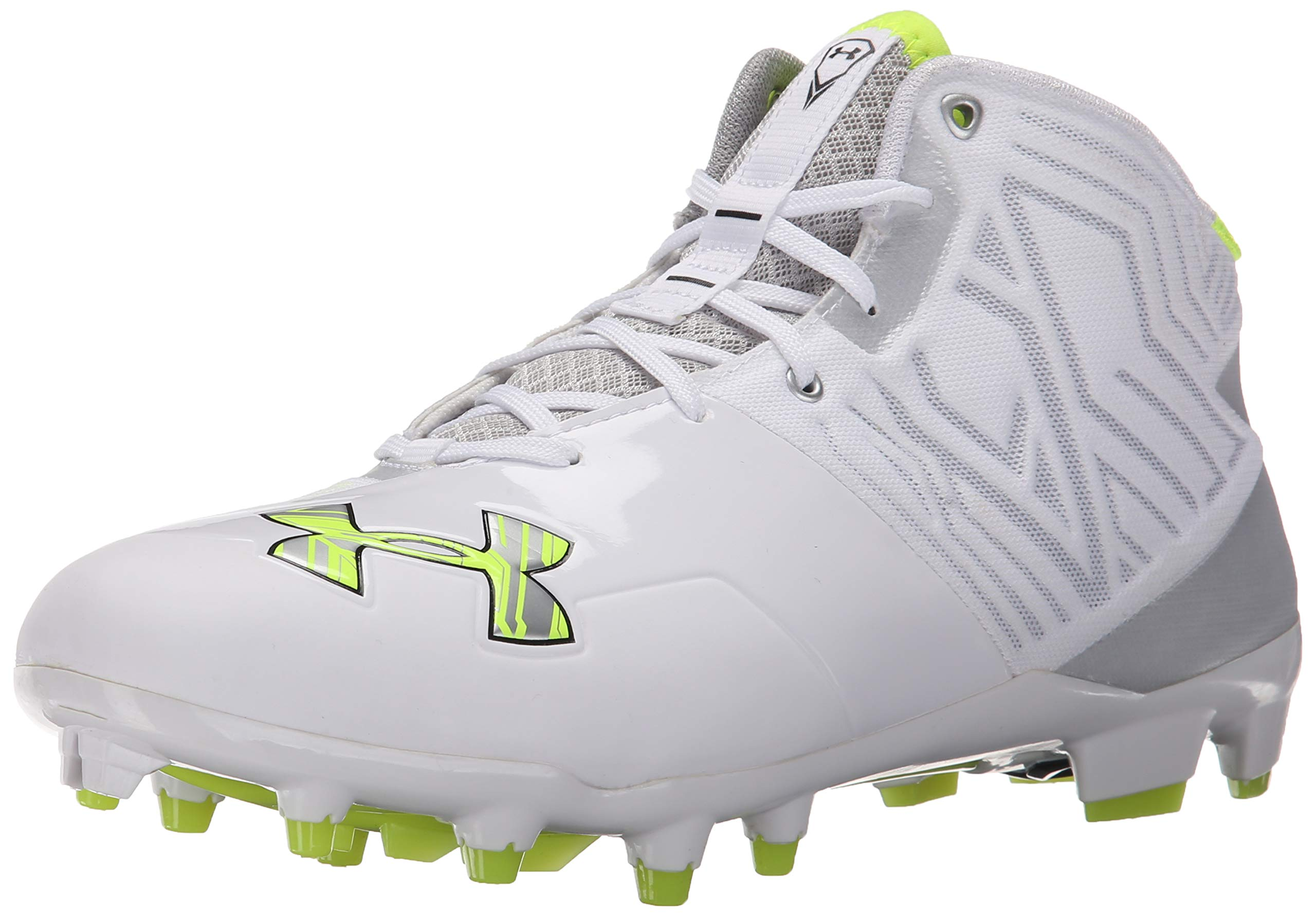 Under Armour Men's Banshee Mid MC Lacrosse Shoe, White (100)/Metallic Silver, 6.5 M US