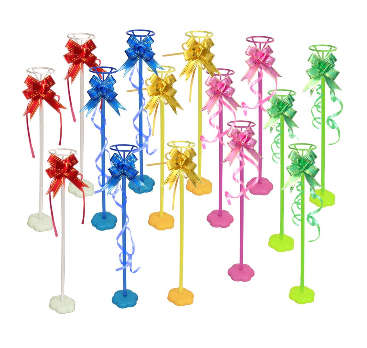 YAWOOYA Balloon Stand Sticks Kit- 15 Sets Tabletop Balloon Stick Stand Base Holder Kits with Poles Cups and Colorful Silk Ribbon Bowknots by YAWOOYA