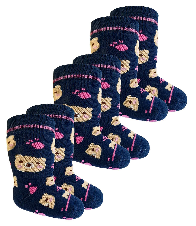 EveryKid Ewers 1er, 2er oder 3er Pack Mä dchenstoppersocken Sparpack Stoppersocken ABS Socken Antirutsch schadstofffrei ganzjä hrig Teddy fü r Kinder (EW-225014-W18-MA6) inkl Fashionguide