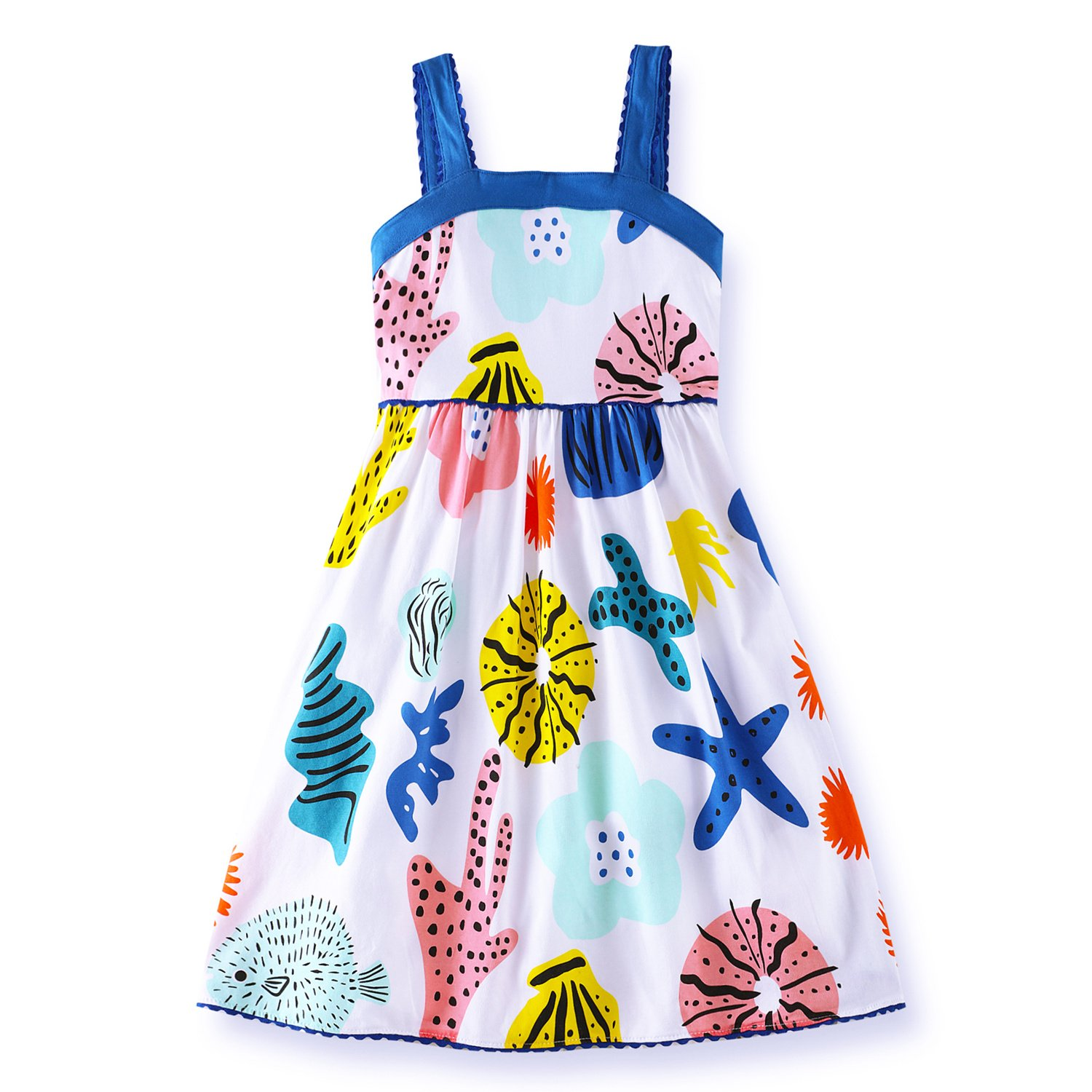 VIKITA Girls Summer Blue Seashell Sundress Short Sleeve Casual Cotton Dress LB173005 6T
