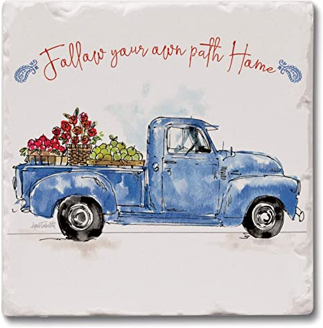 Amazon Com Counterart Absorbent Tumbled Tile Stone Coaster Set Follow Your Path Blue Truck Home Kitchen